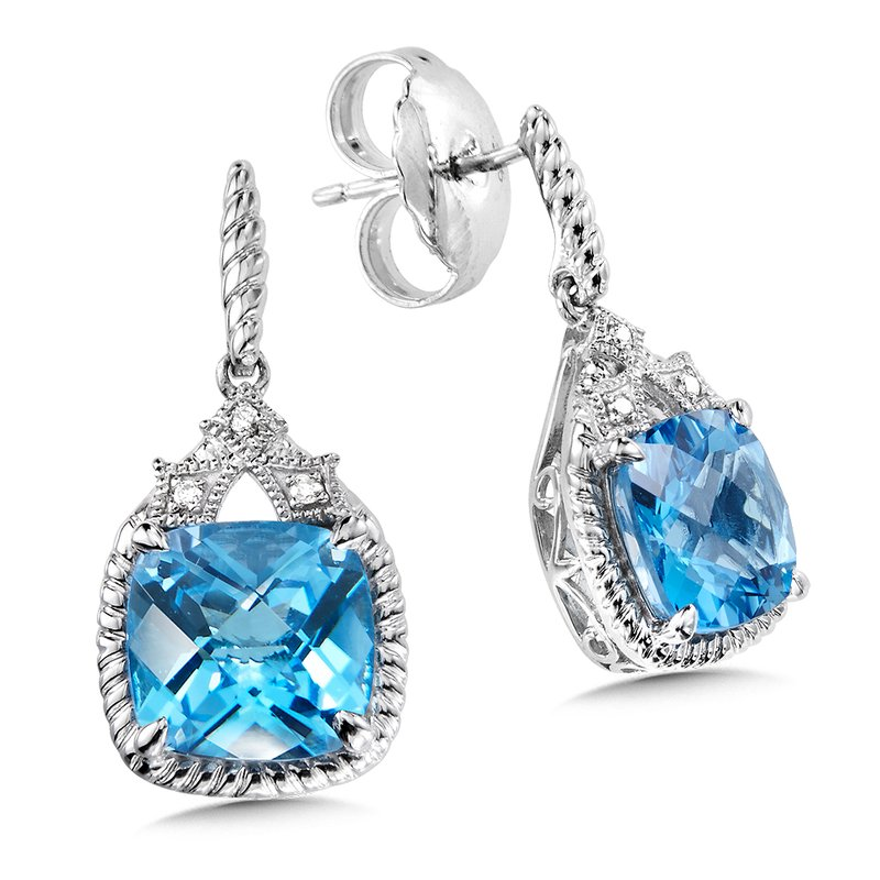 Colore Sg Sterling Silver Blue Topaz and Diamond Post Earrings