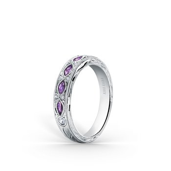 Amethyst Diamond Engraved Floral Wedding  Band