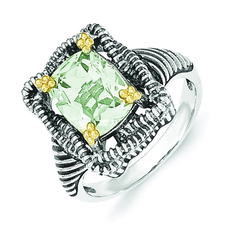 Shey Couture Sterling Silver w/14k Green Quartz Ring