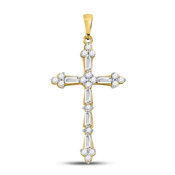 10kt Yellow Gold Womens Round Baguette Diamond Cross Faith Pendant 1/2 Cttw
