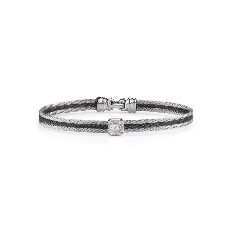 ALOR Black & Grey Cable Classic Stackable Bracelet with Single Square Station set in 18kt White Gold