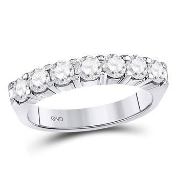 14kt White Gold Womens Round Diamond Single Row Comfort Wedding Band 1.00 Cttw