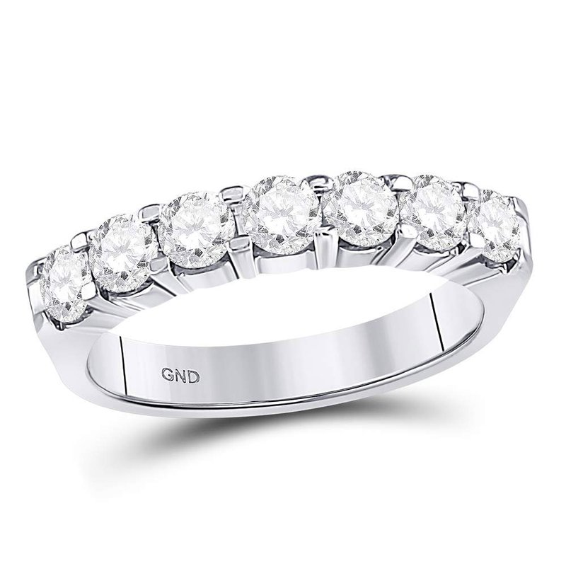 Gold-N-Diamonds 14kt White Gold Womens Round Diamond Single Row Comfort Wedding Band 1.00 Cttw