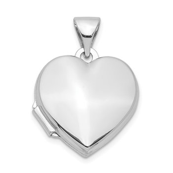 Sterling Silver Rhodium-plated Plain 15mm Heart Locket