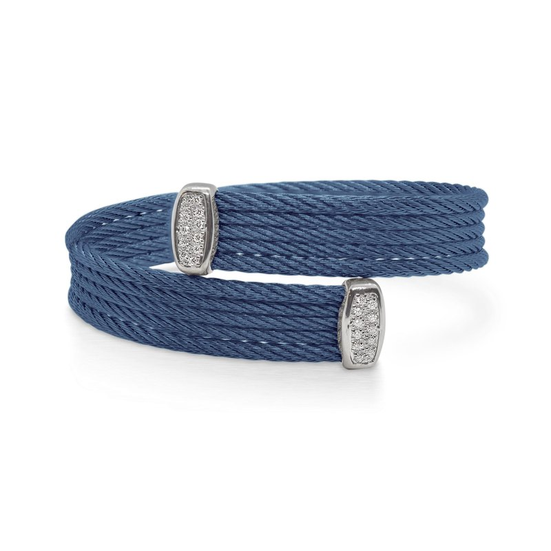 ALOR Blueberry Cable Bypass Bracelet with 18tk White Gold & Diamonds