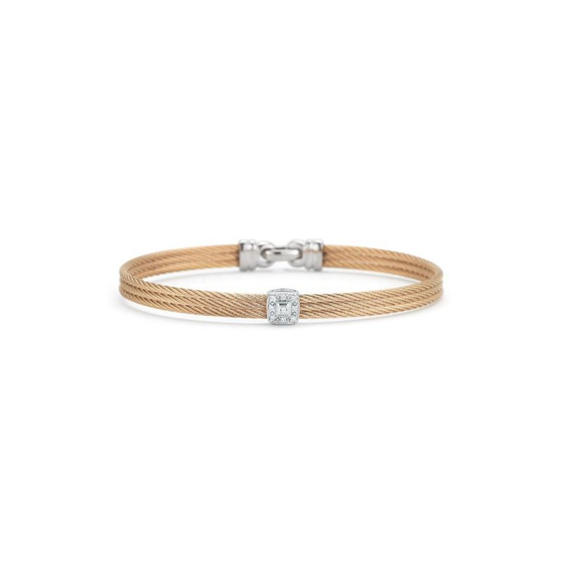ALOR Rose Cable Classic Stackable Bracelet with Single Square Station set in 18kt White Gold