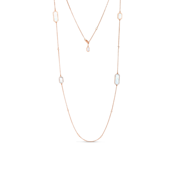 18KT GOLD ART DECO STATION NECKLACE WITH DIAMONDS AND MOTHER OF PEARL