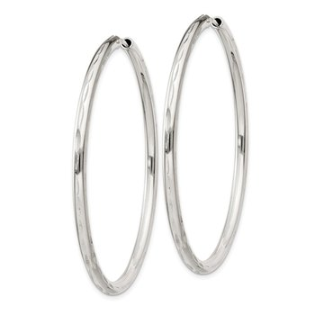 Sterling Silver D/C 2.5x50mm Endless Hoop Earrings