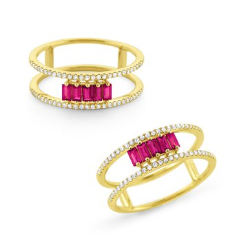 Ruby & Diamond Ring Set in 14Kt. Gold