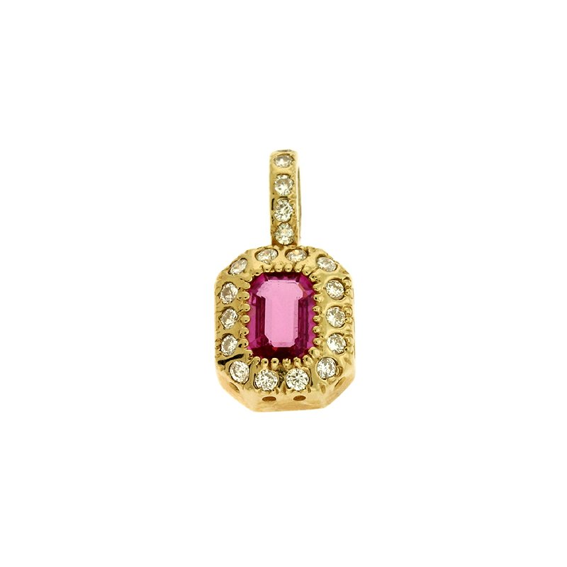 S. Kashi  & Sons Pink Sapphire./dia Pendant