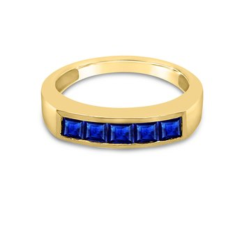 14K Yellow Gold Blue Sapphire Band