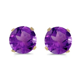 5 mm Natural Round Amethyst Stud Earrings Set in 14k Yellow Gold