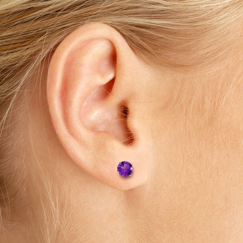 Color Merchants 5 mm Natural Round Amethyst Stud Earrings Set in 14k Yellow Gold