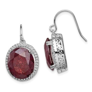 Sterling Silver Rhodium-plated CZ & Cracked Red CZ Earrings