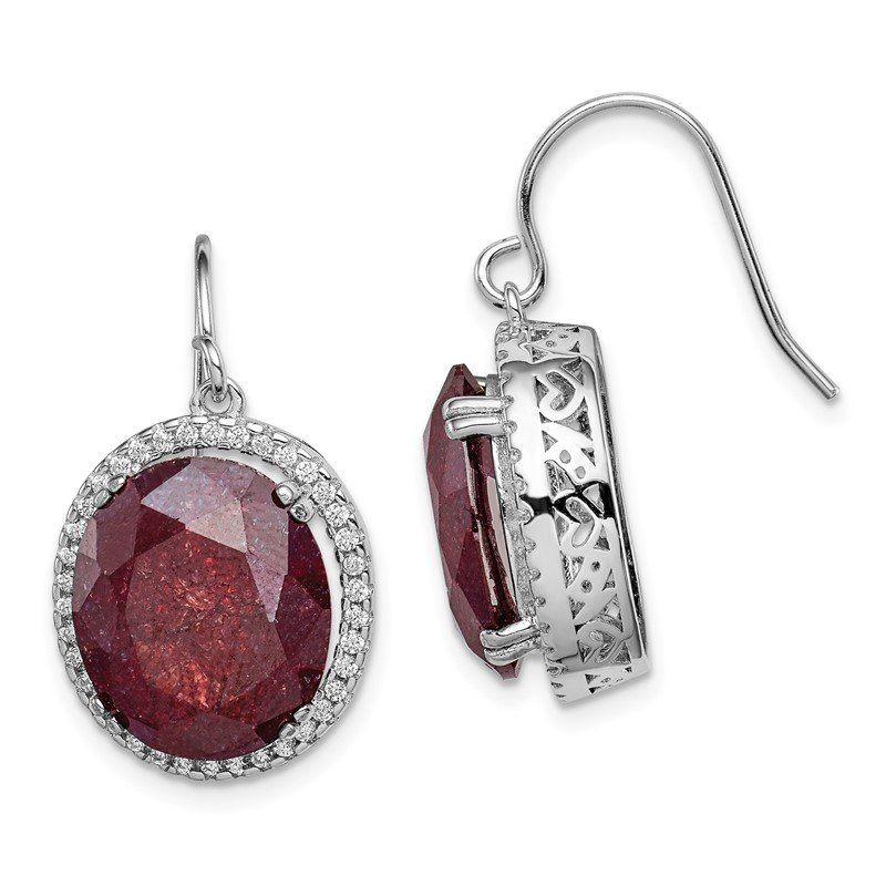 Quality Gold Sterling Silver Rhodium-plated CZ & Cracked Red CZ Earrings