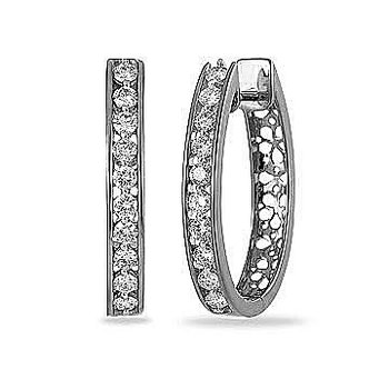 14K WG Diamond Oval Hoops earring channel prong with open design back with safe clasp