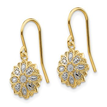 14k & Rhodium D/C Polished Fancy Dangle Earrings