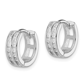 Sterling Silver Polished Rhodium-plated Hinged Hoop Earrings