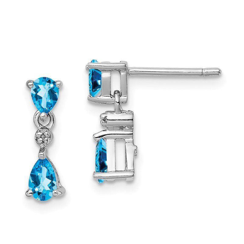 Quality Gold Sterling Silver Rhodium-plated Swiss Blue Topaz & Diamond Post Earrings