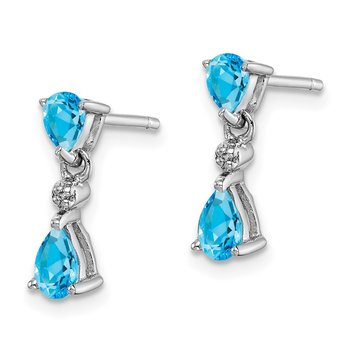 Sterling Silver Rhodium-plated Swiss Blue Topaz & Diamond Post Earrings