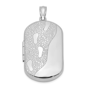 Sterling Silver Rhodium-plated 30mm Footprints Rectangular Locket