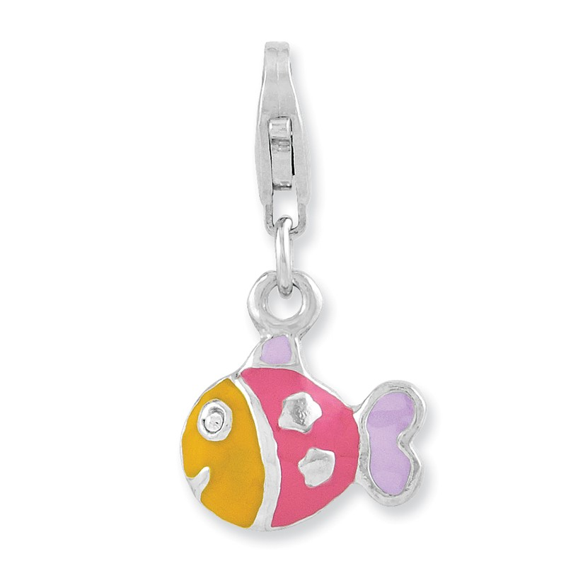 925 Sterling Silver Rhodium-plated 3-D Enameled Fish w//Lobster Clasp Charm