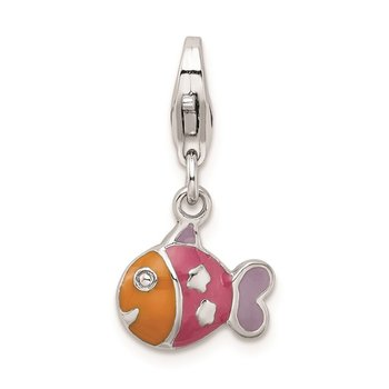 Sterling Silver Rhodium-plated 3-D Enameled Fish w/Lobster Clasp Charm
