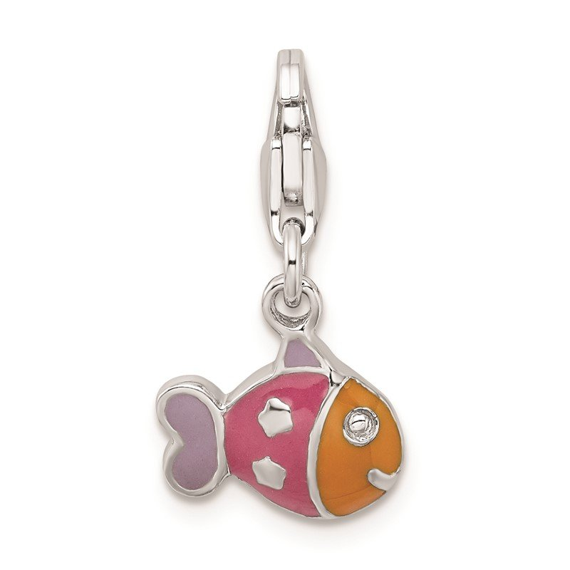 Quality Gold Sterling Silver Rhodium-plated 3-D Enameled Fish w/Lobster Clasp Charm