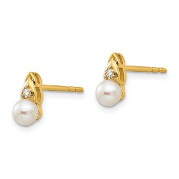14k FW Cultured Pearl and Diamond Earrings