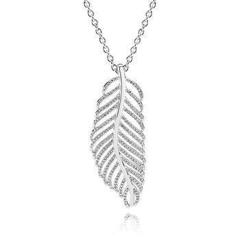 Light As A Feather Pendant Necklace, Clear Cz