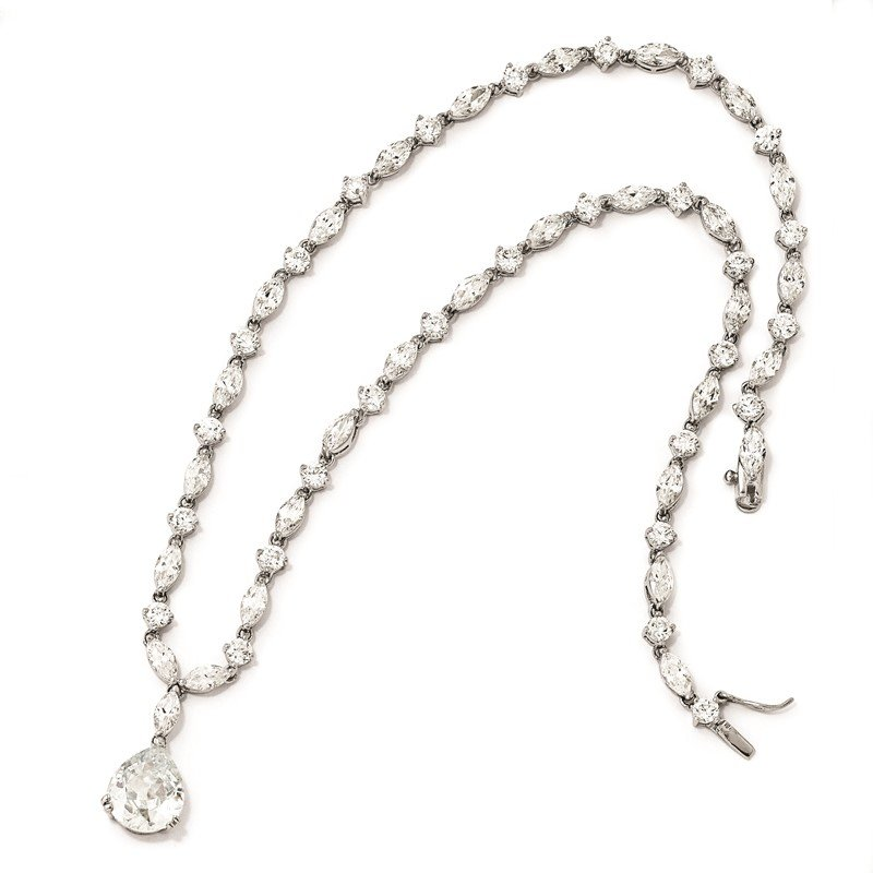Cheryl M Cheryl M Sterling Silver Rhodium Plated Pear CZ 17in Necklace