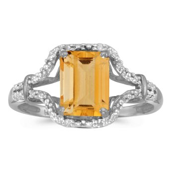14k White Gold Emerald-cut Citrine And Diamond Ring