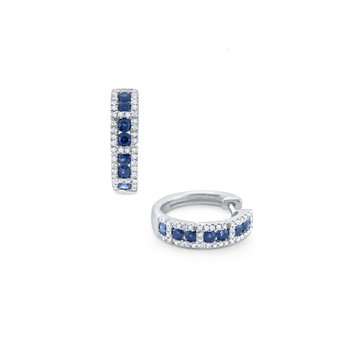 Blue Sapphire & Diamond Mini Hoop Earrings Set in 14 Kt. Gold