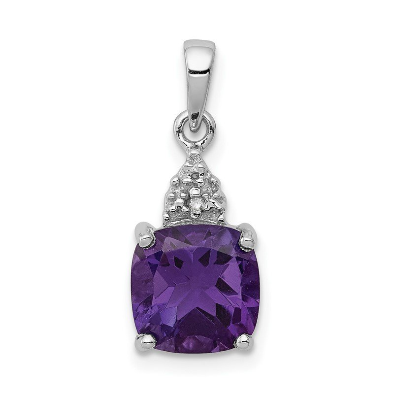 Quality Gold Sterling Silver Rhodium Amethyst & Diamond Pendant