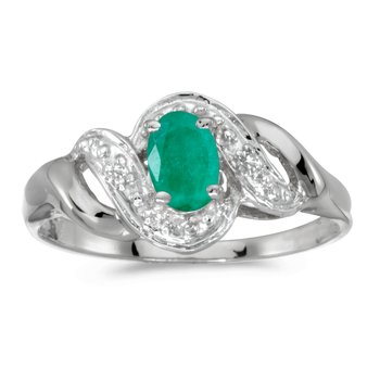 14k White Gold Oval Emerald And Diamond Swirl Ring