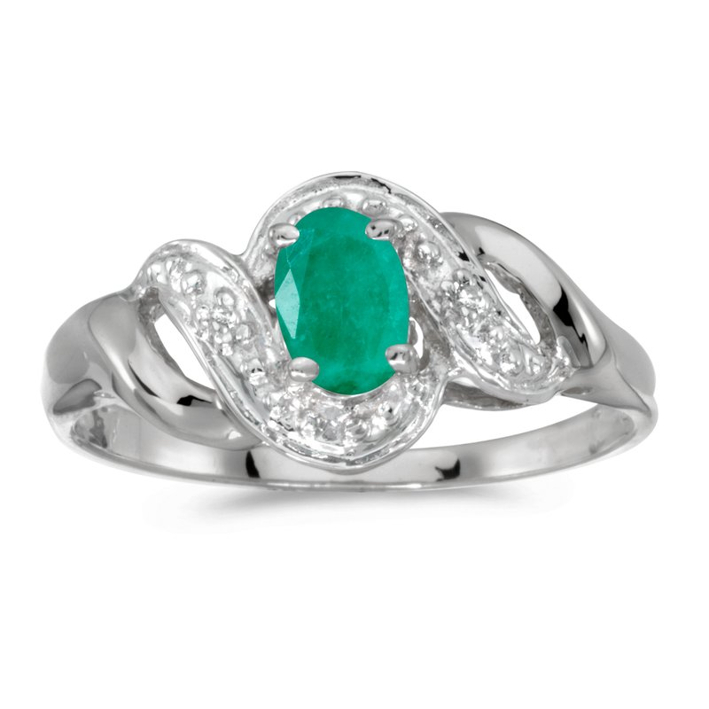 Color Merchants 14k White Gold Oval Emerald And Diamond Swirl Ring