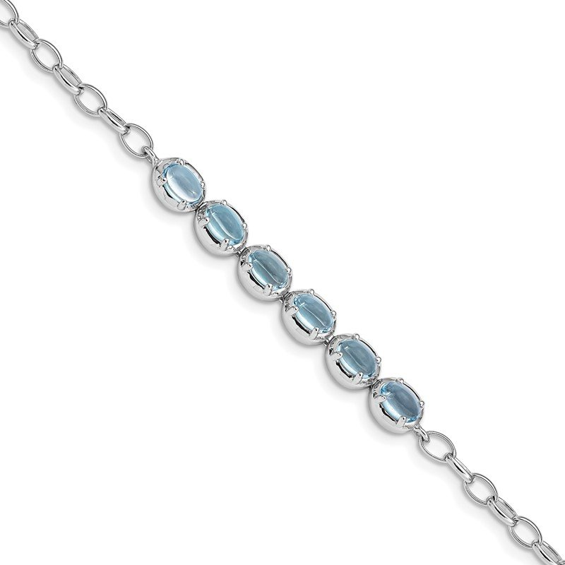 Quality Gold Sterling Silver Rhodium-plated Light Swiss Blue Topaz Bracelet