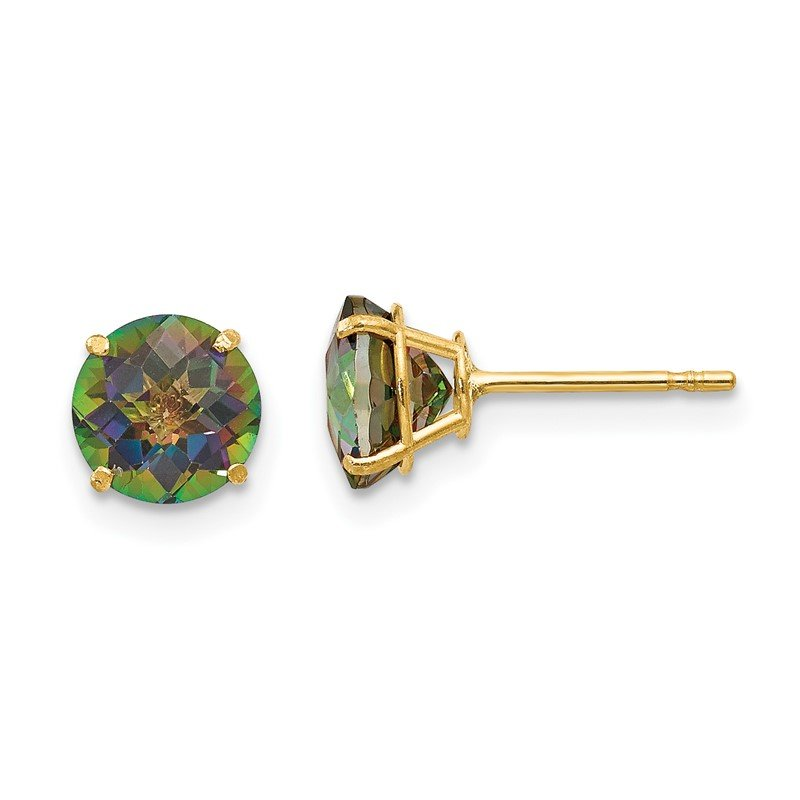 Quality Gold 14k Madi K Round Mystic Topaz 6mm Post Earrings