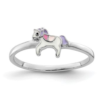 Sterling Silver Rhodium-plated Childs Enameled Unicorn Ring