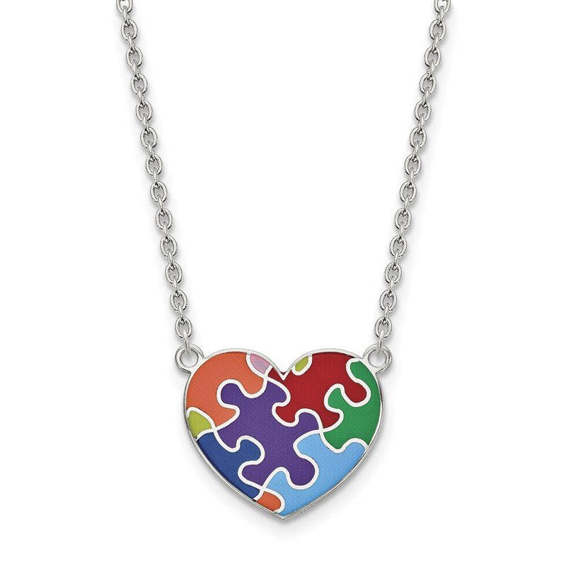 Quality Gold Sterling Silver Rhod-plated Enameled Autism Heart Necklace