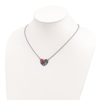 Sterling Silver Rhod-plated Enameled Autism Heart Necklace