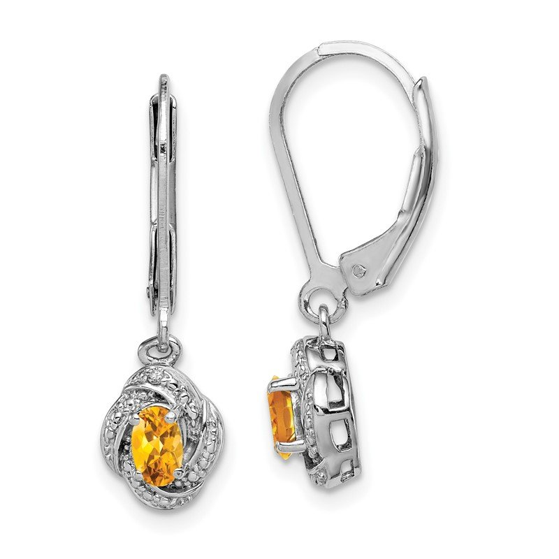 Quality Gold Sterling Silver Rhodium-plated Diam. & Citrine Earrings