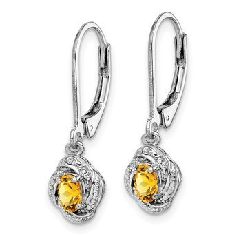 Sterling Silver Rhodium-plated Diam. & Citrine Earrings