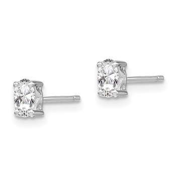 Sterling Silver Rhodium-plated 5x3mm Oval White Topaz Post Earrings