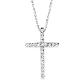 Diamond Large Cross Necklace in 14K White Gold with 22 Diamonds Weighing .20ct tw.