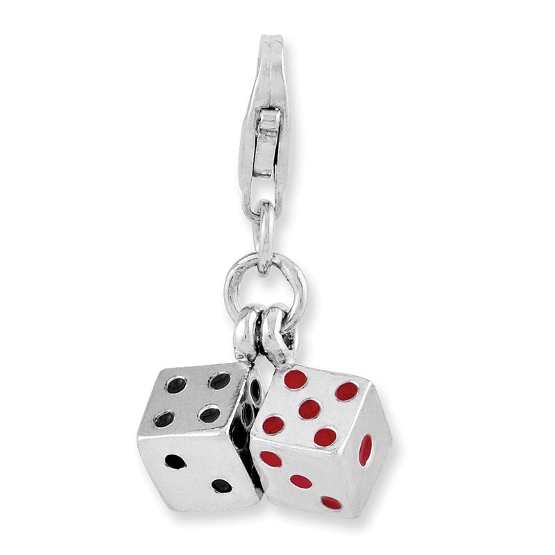 Quality Gold Sterling Silver Rhodium-plated 3-D Enameled Pair of Dice w/Lobster Clasp Ch