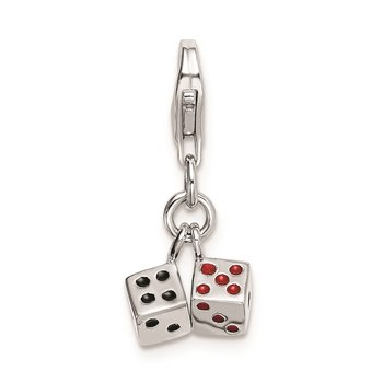Sterling Silver Rhodium-plated 3-D Enameled Pair of Dice w/Lobster Clasp Ch