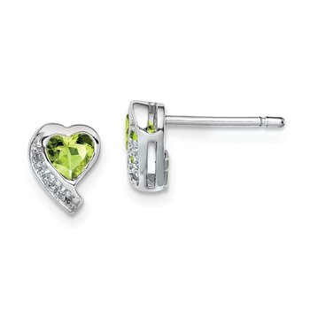 Sterling Silver Rhodium-plated Peridot and Diamond Heart Earrings