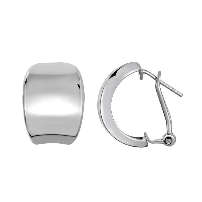 Royal Chain Silver Wide C Huggie Earring