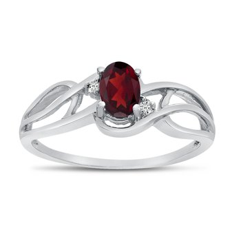 14k White Gold Oval Garnet And Diamond Curve Ring